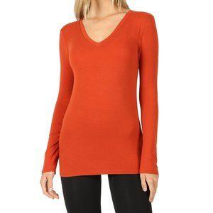 Long Sleeve V-Neck Shirt Copper Dark Orange